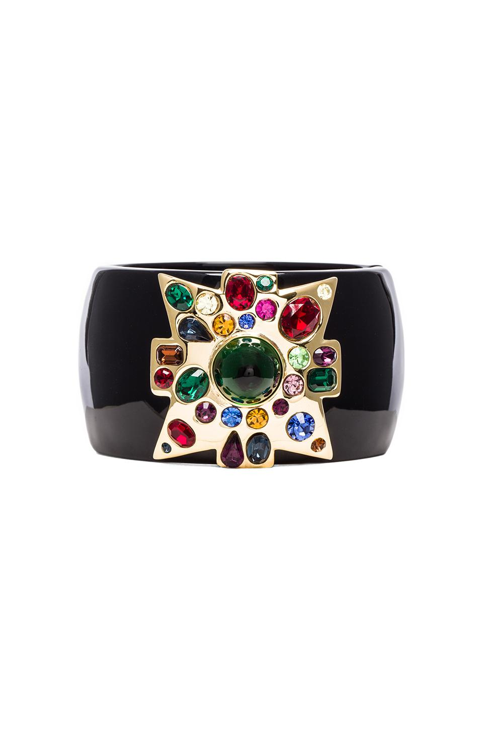 Kenneth Jay Lane Large Cross Cuff in Black & Multi
