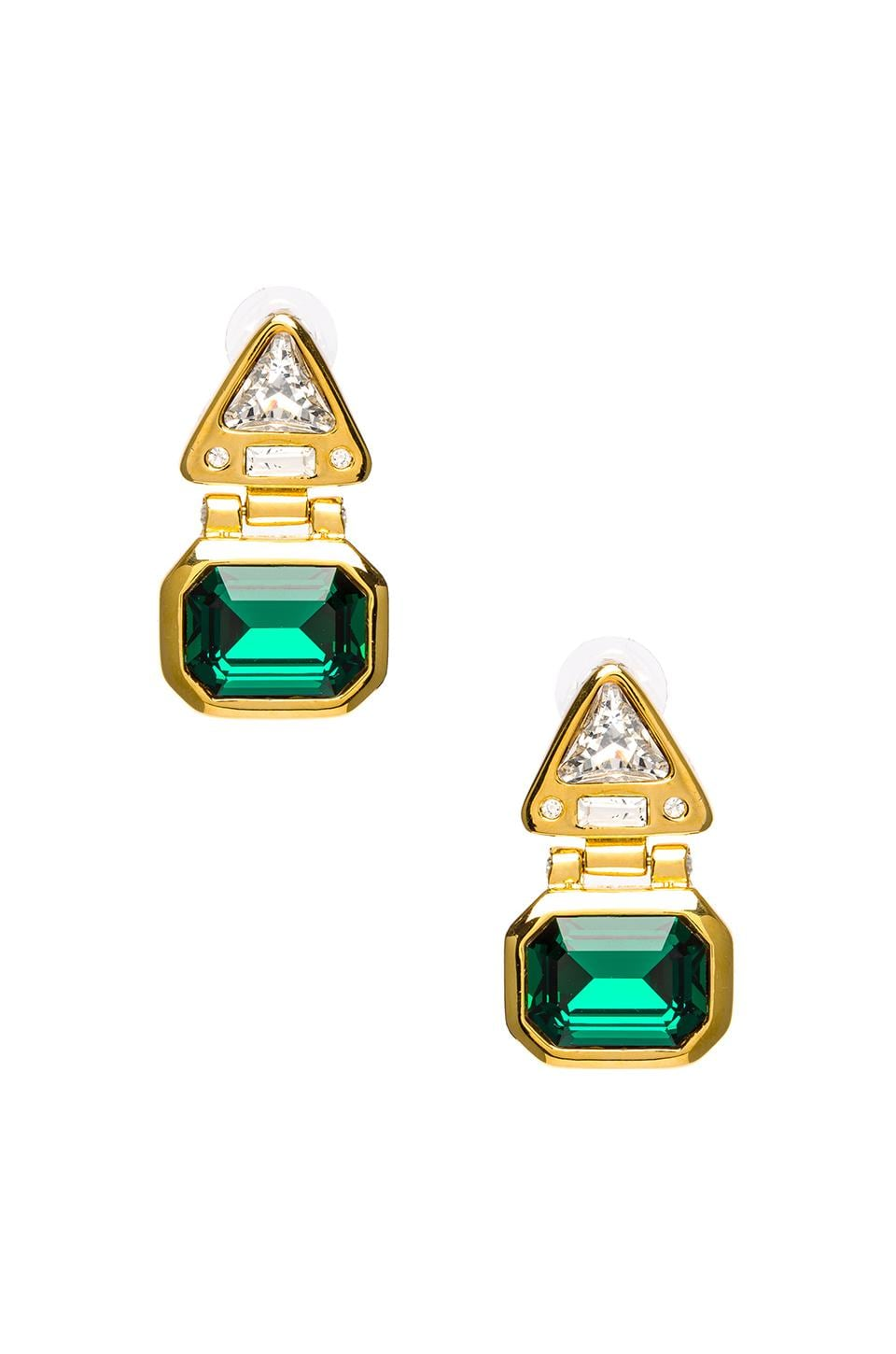 Kenneth Jay Lane Polished Gold and Crystal Triangle Top Pierced Earrings in Gold