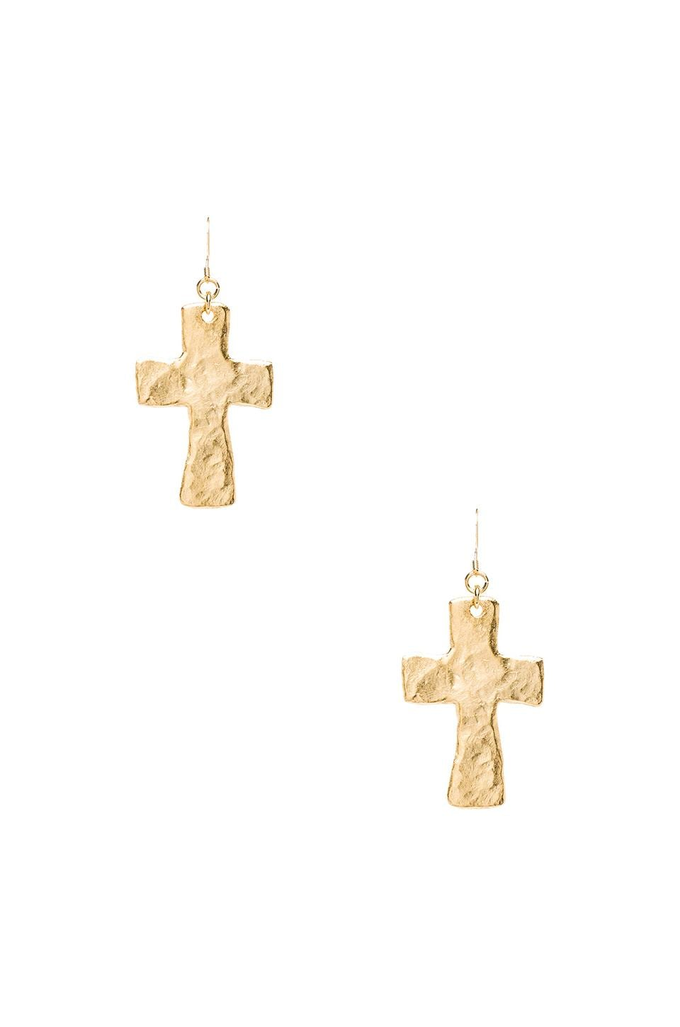 Kenneth Jay Lane Satin Gold Cross Fishhook Earrings in Satin Gold