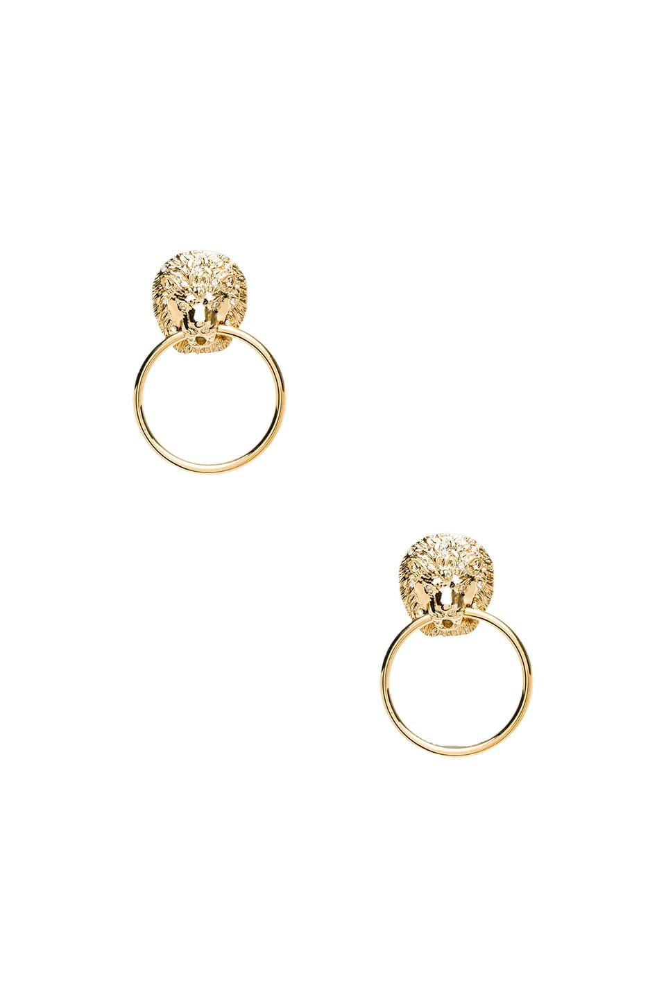 Kenneth Jay Lane Lion Head Doorknocker Earrings in Gold & Crystal