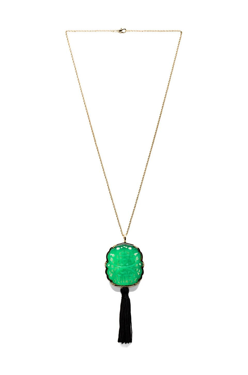 Kenneth Jay Lane Curved Jade Tassel Necklace with Gold Chain in Jade