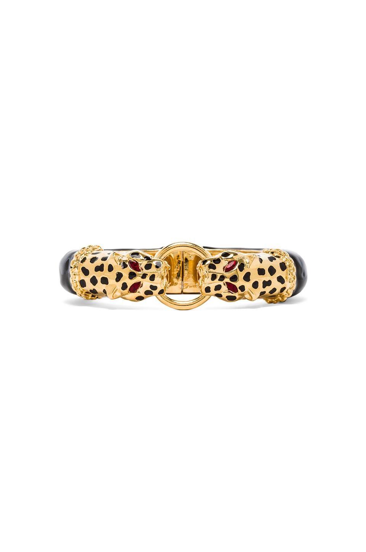 Kenneth Jay Lane Double Leopard Hinged Bracelet in Black