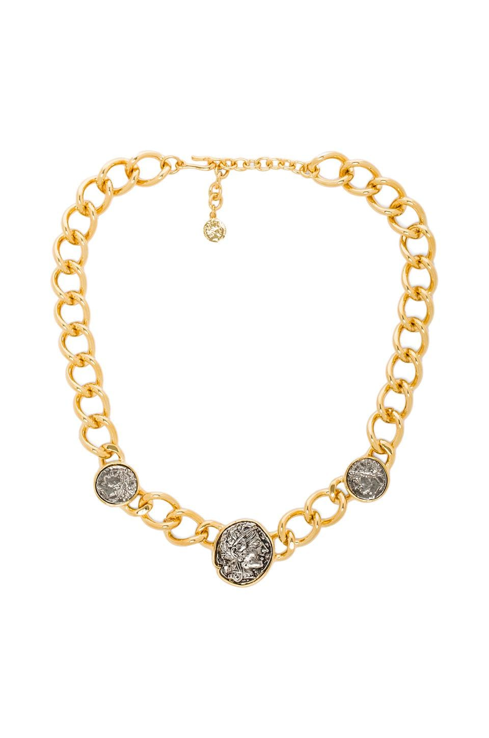Kenneth Jay Lane 3 Coin Chain Necklace in Polished Gold