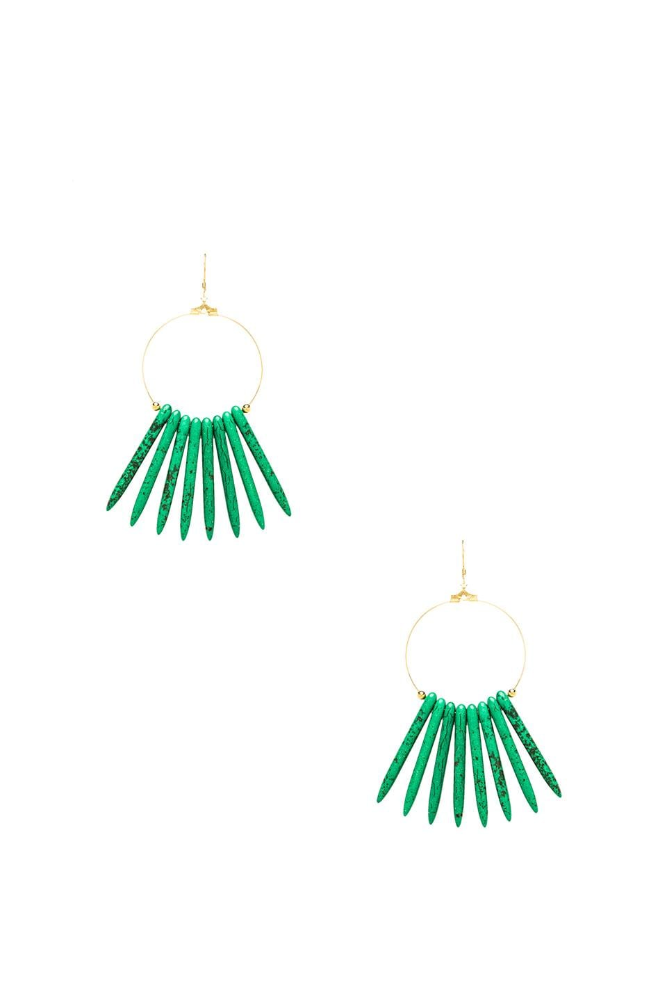 Kenneth Jay Lane Sticks Hoop Earring in Green