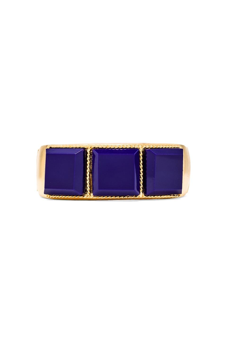 Kenneth Jay Lane Squares Hinged Cuff in Lapis