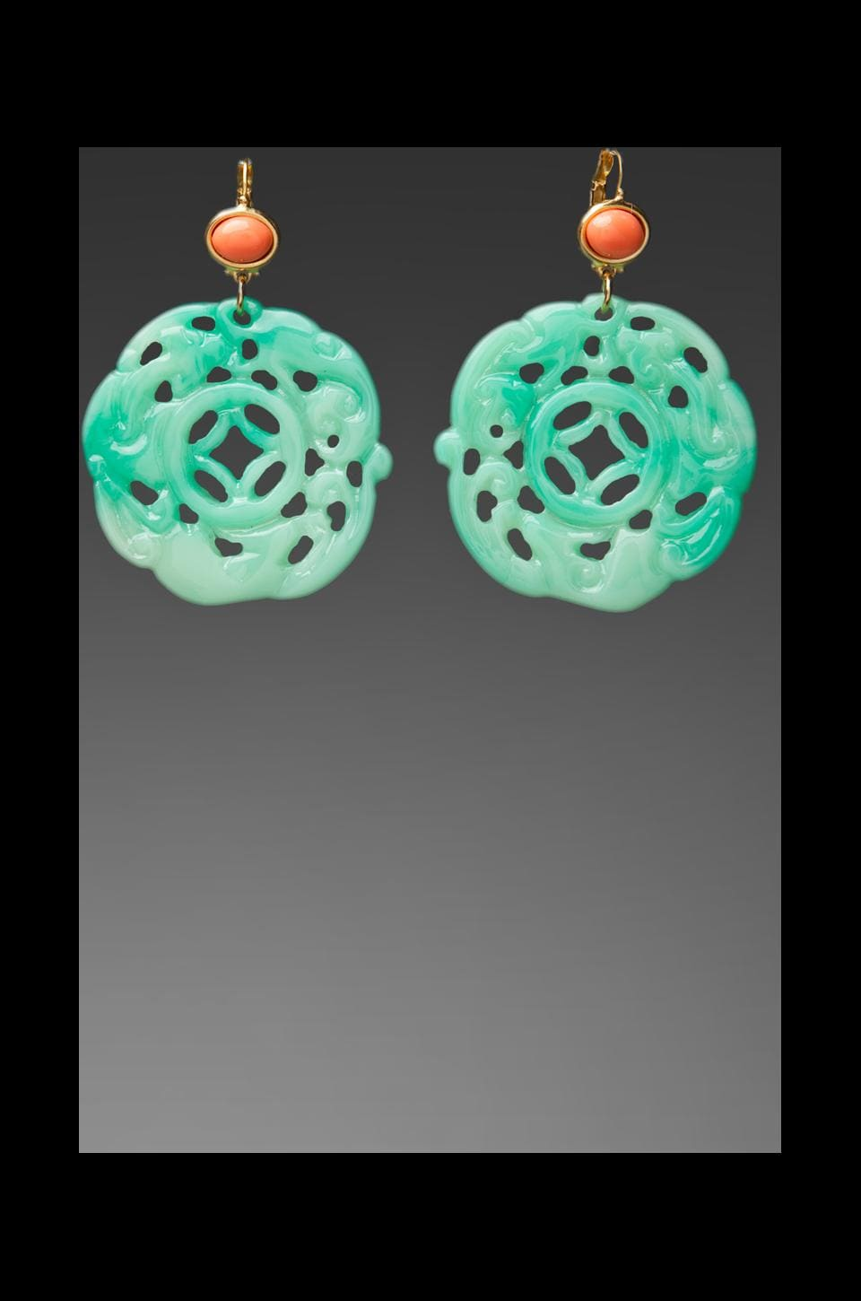 Kenneth Jay Lane Coral Top Carved Jade Earring