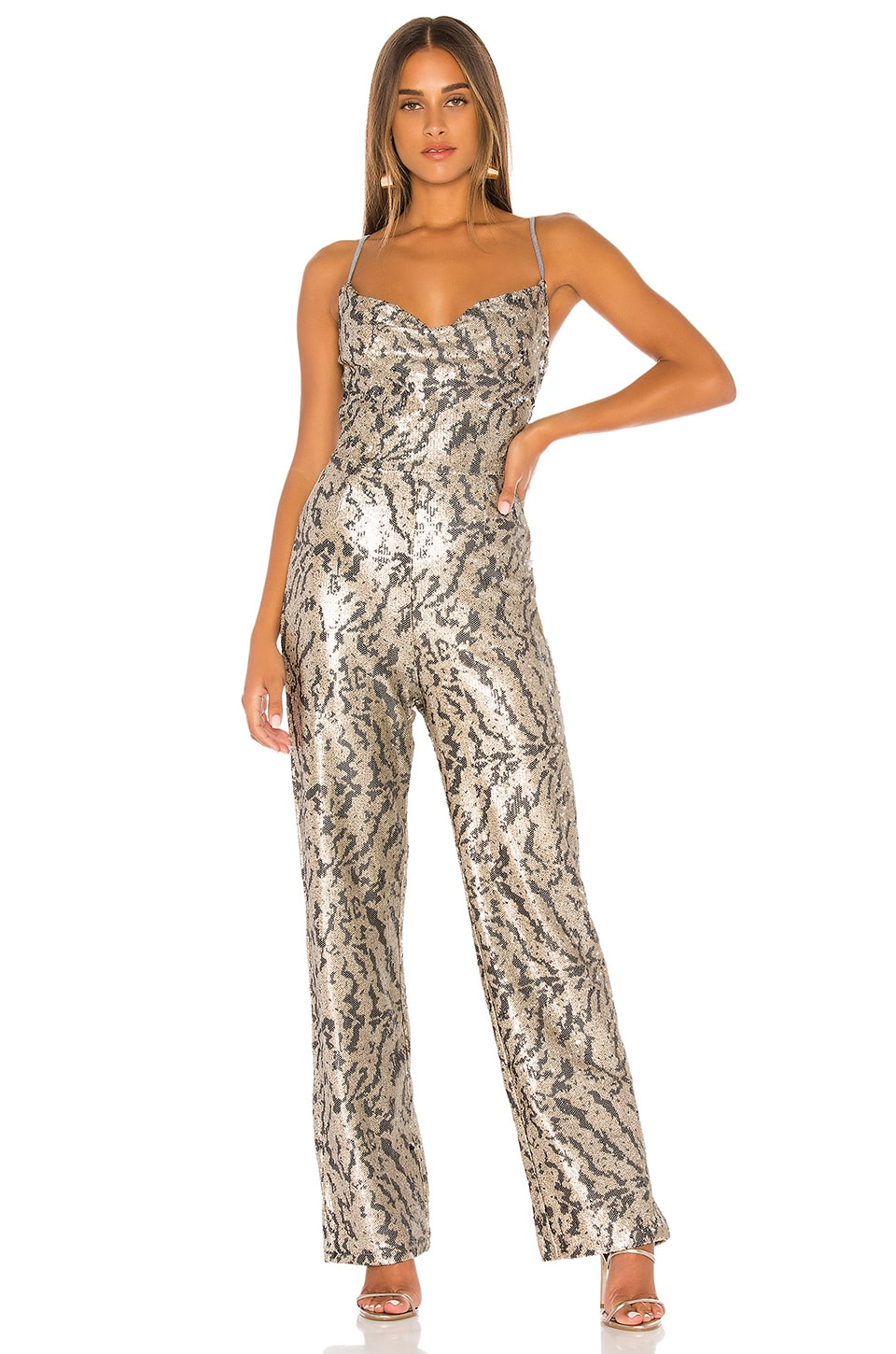 KENDALL + KYLIE Studio 54 Jumpsuit in Tiger Sequin