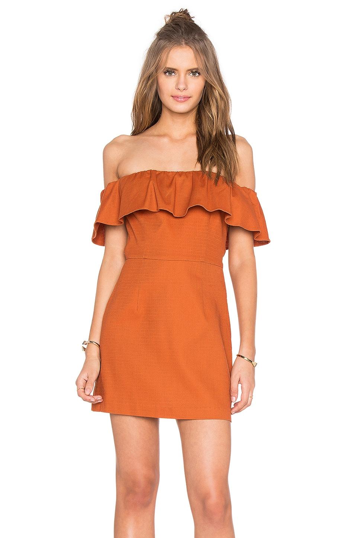 KENDALL + KYLIE Ruffle Off Shoulder Dress in Cinnamon Stick
