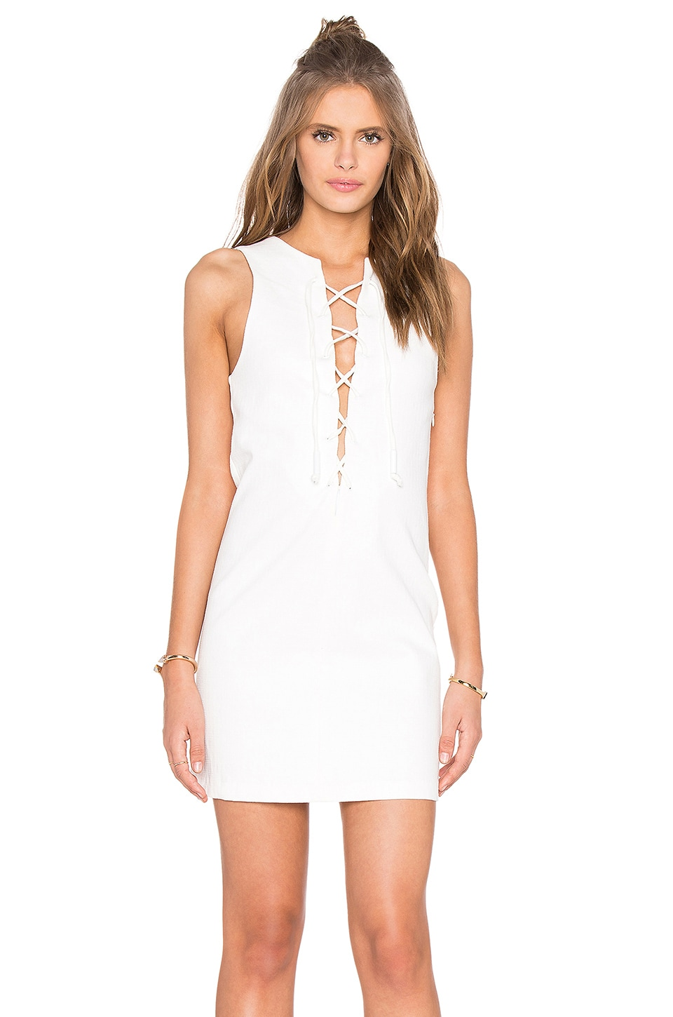 KENDALL + KYLIE Lace Front Dress in Bright White