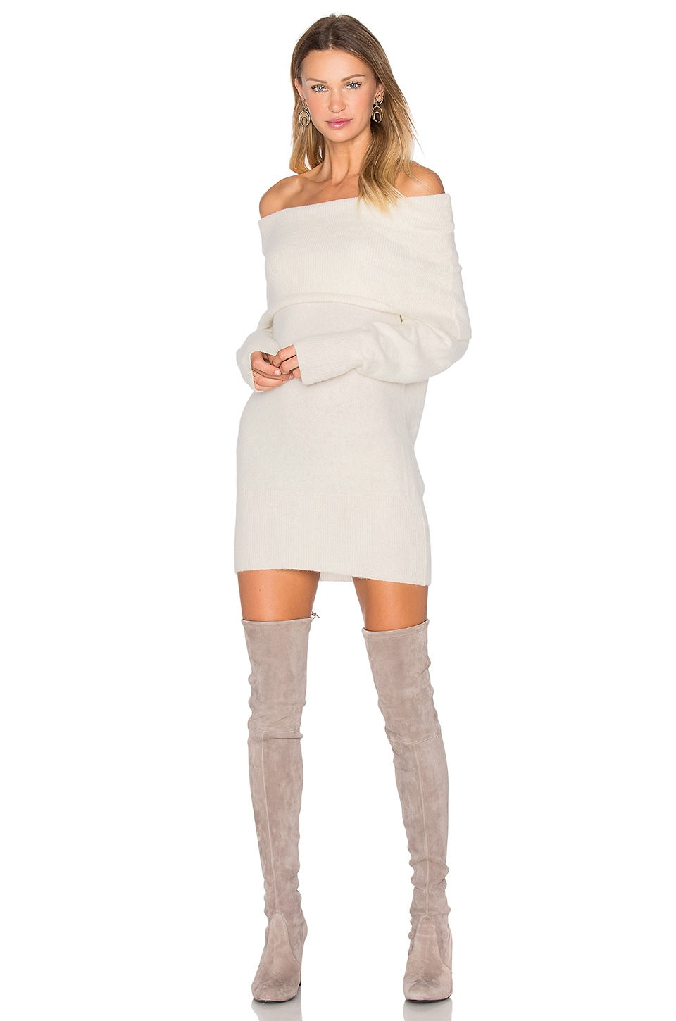 292b83830ba KENDALL + KYLIE Fuzzy Knit Off The Shoulder Dress in Off White