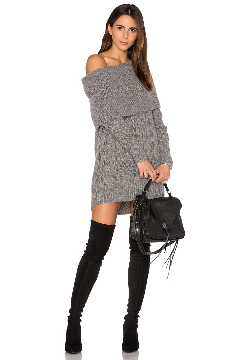 KENDALL + KYLIE Oversized Cable Tunic Sweater in Medium Heather Grey