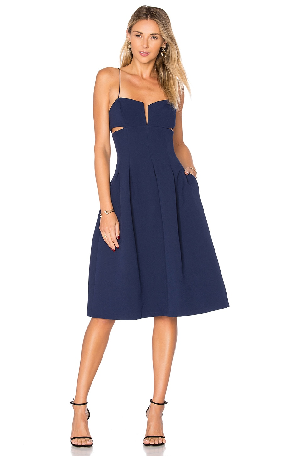 KENDALL + KYLIE Box Pleat Cami Dress in Midnight Navy