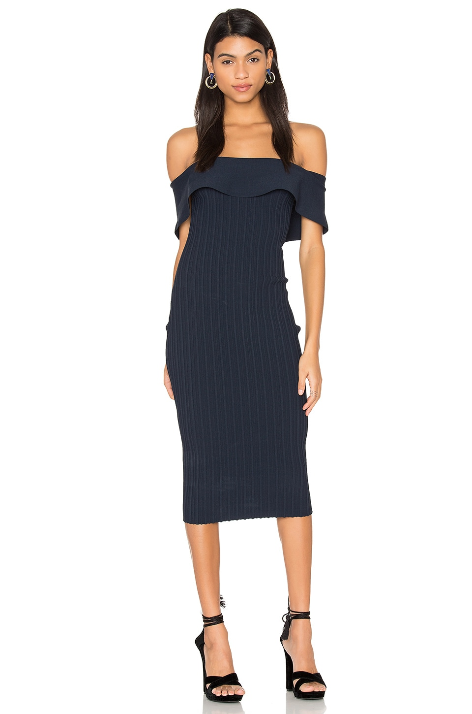 KENDALL + KYLIE Ruffle Midi Dress in Tru Navy