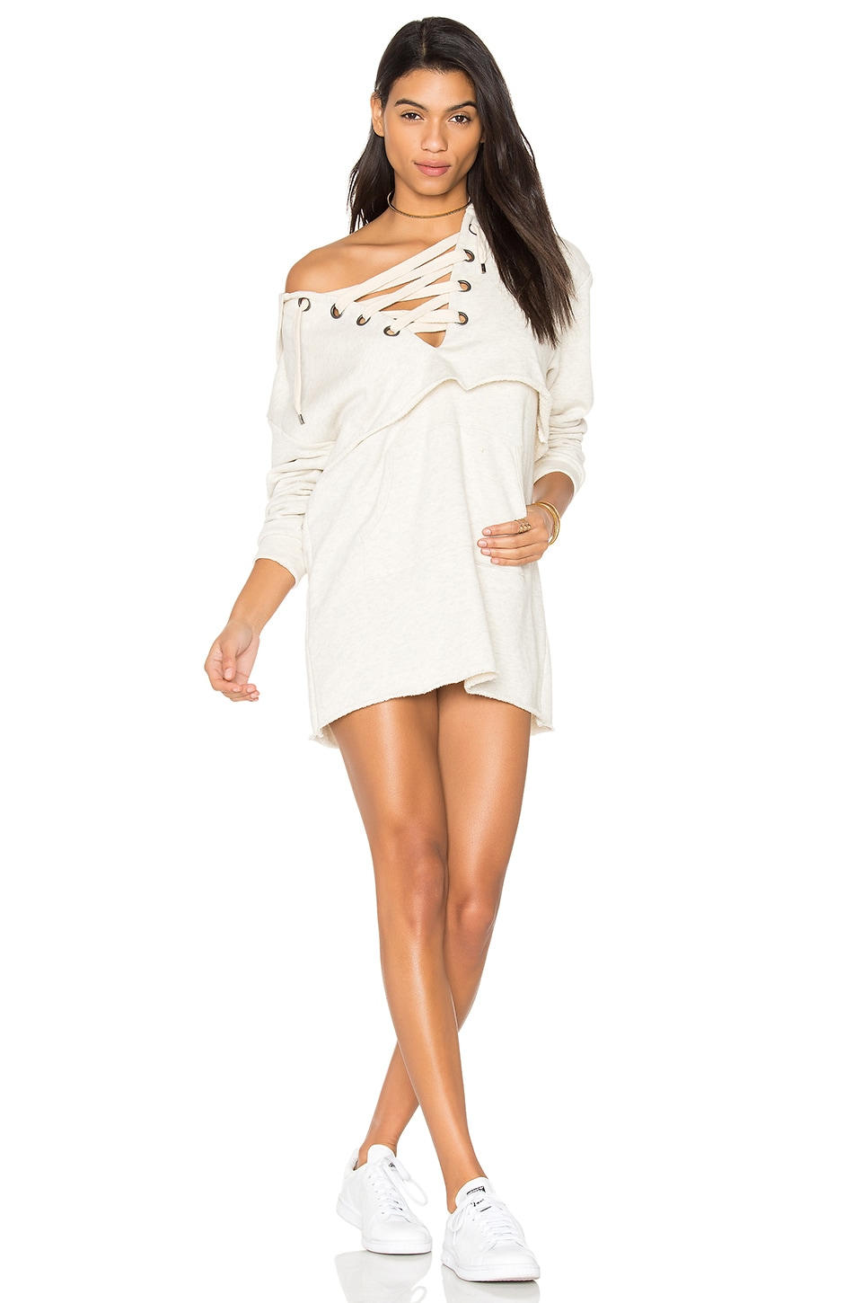 KENDALL + KYLIE Sweatshirt Dress in Oatmeal