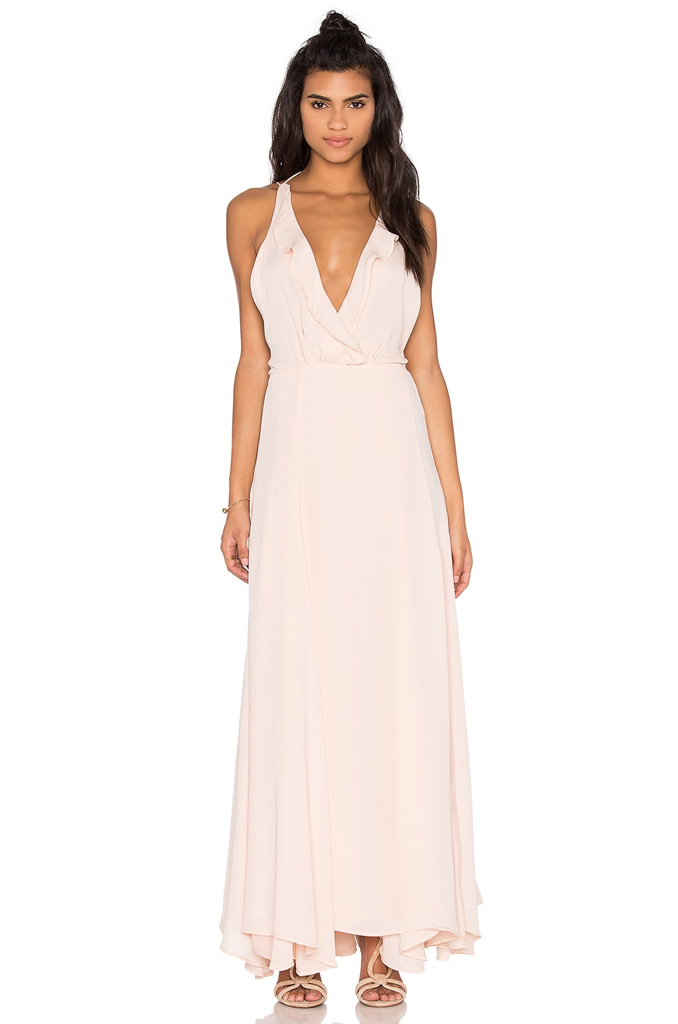 KENDALL + KYLIE Ruffle Wrapped Maxi Dress in Soft Pink | REVOLVE