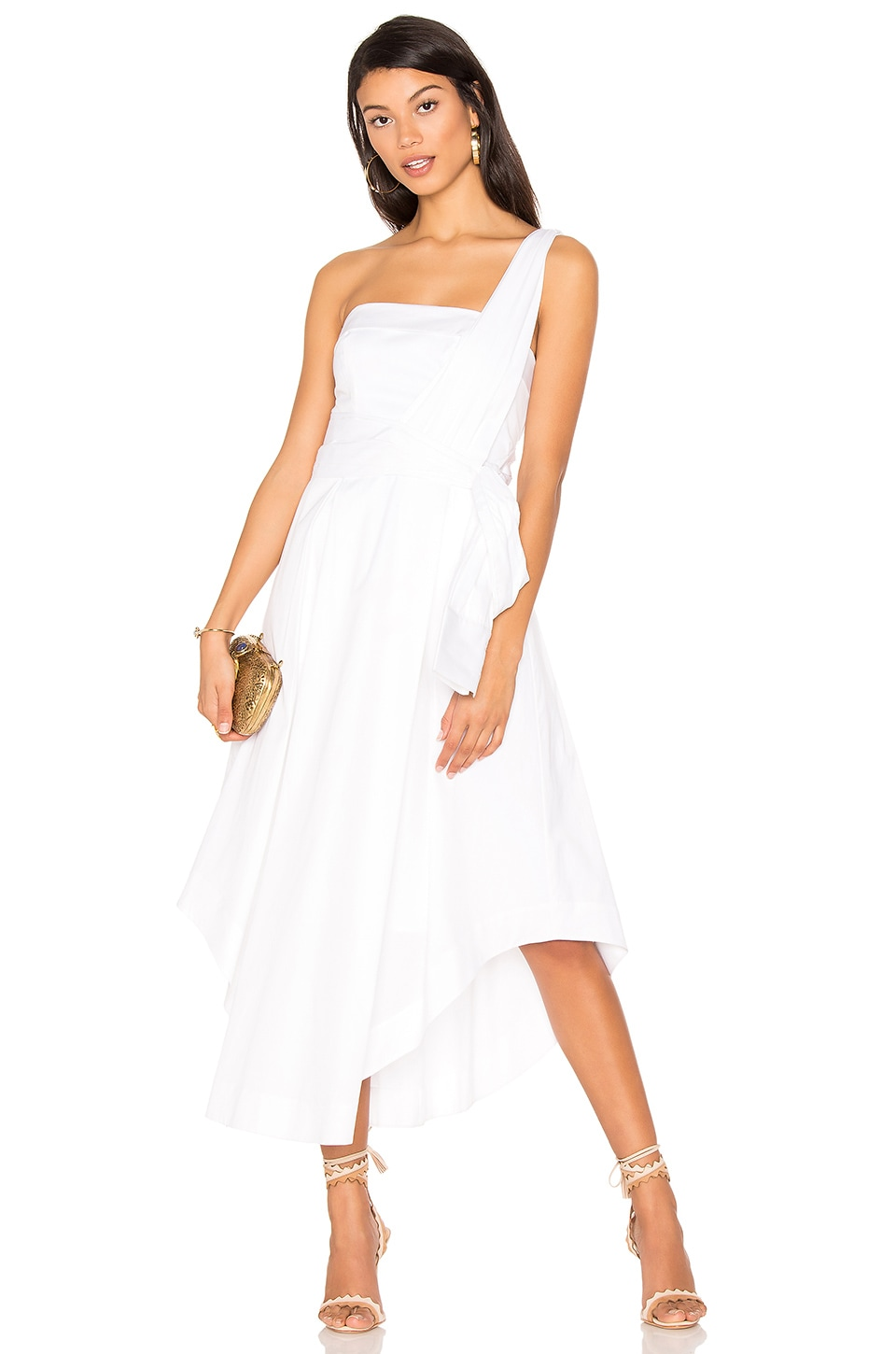KENDALL + KYLIE One Shoulder Midi Dress in Bright White