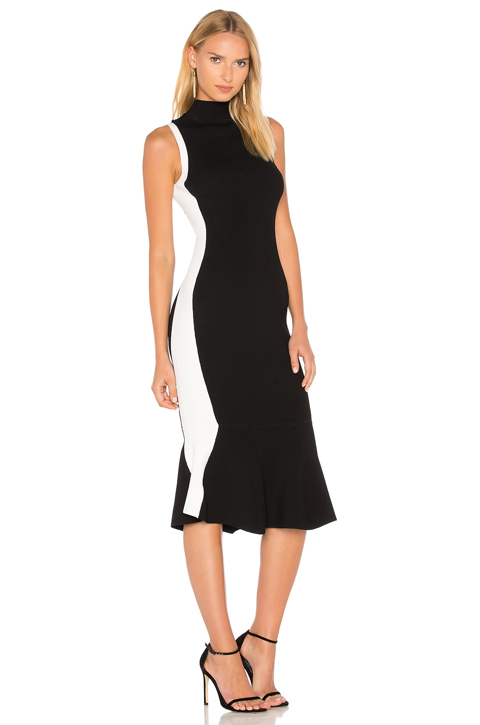 KENDALL + KYLIE Illusion Dress in Black & Bright White