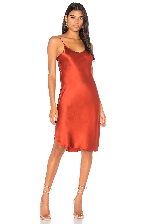 KENDALL + KYLIE Silk Slip Dress in Rust