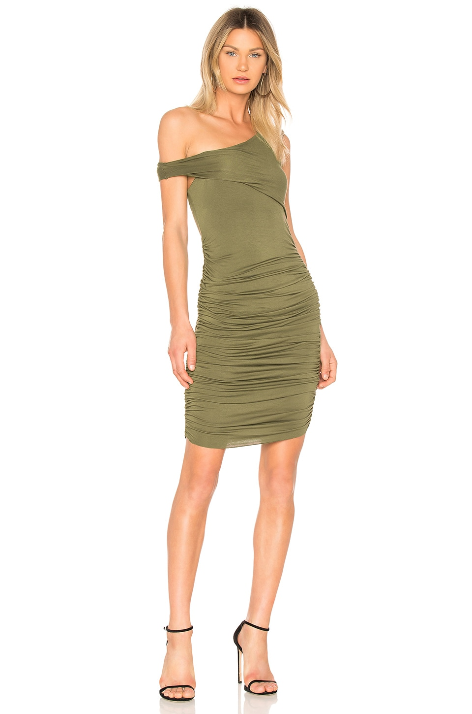 KENDALL + KYLIE Ruched Dress in Army Green