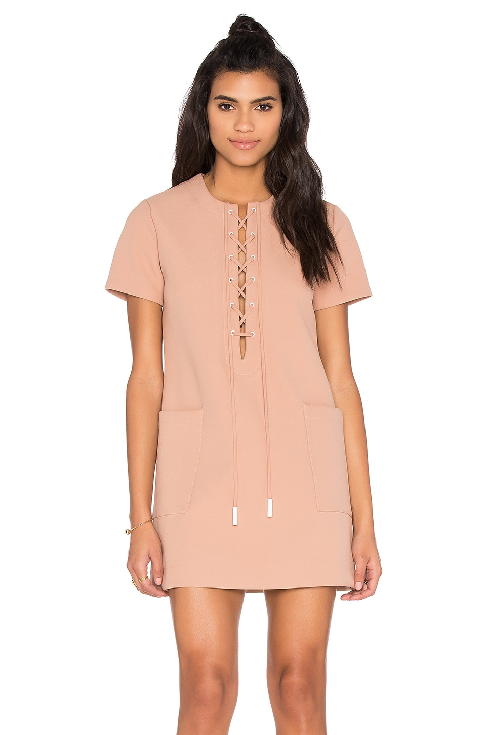 KENDALL + KYLIE Lace Up Safari Dress in Sepia