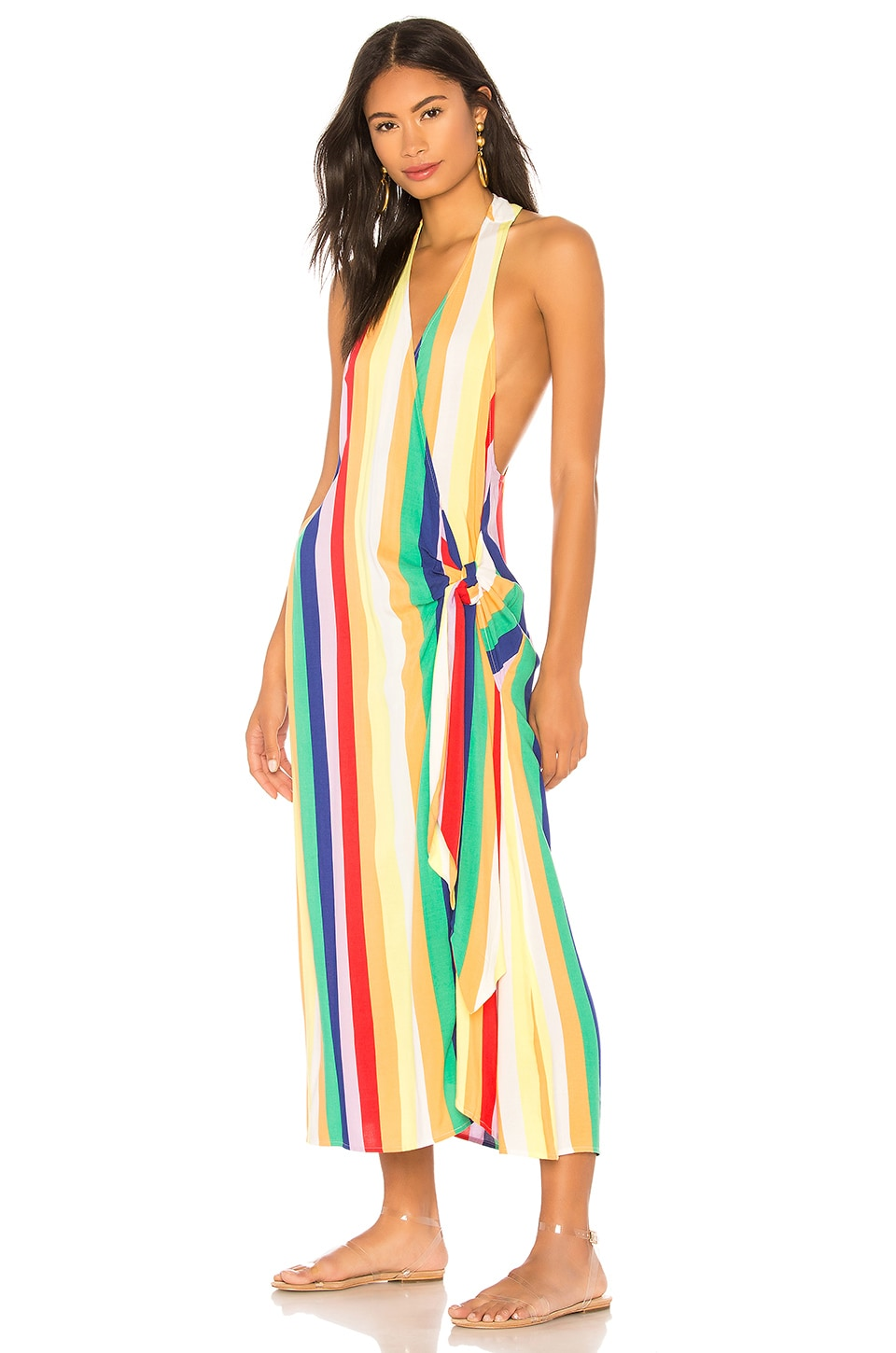KENDALL + KYLIE Wrap Cover Up in Rainbow Stripe