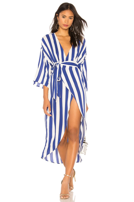 KENDALL + KYLIE Wrap Dress in Royal Stripe