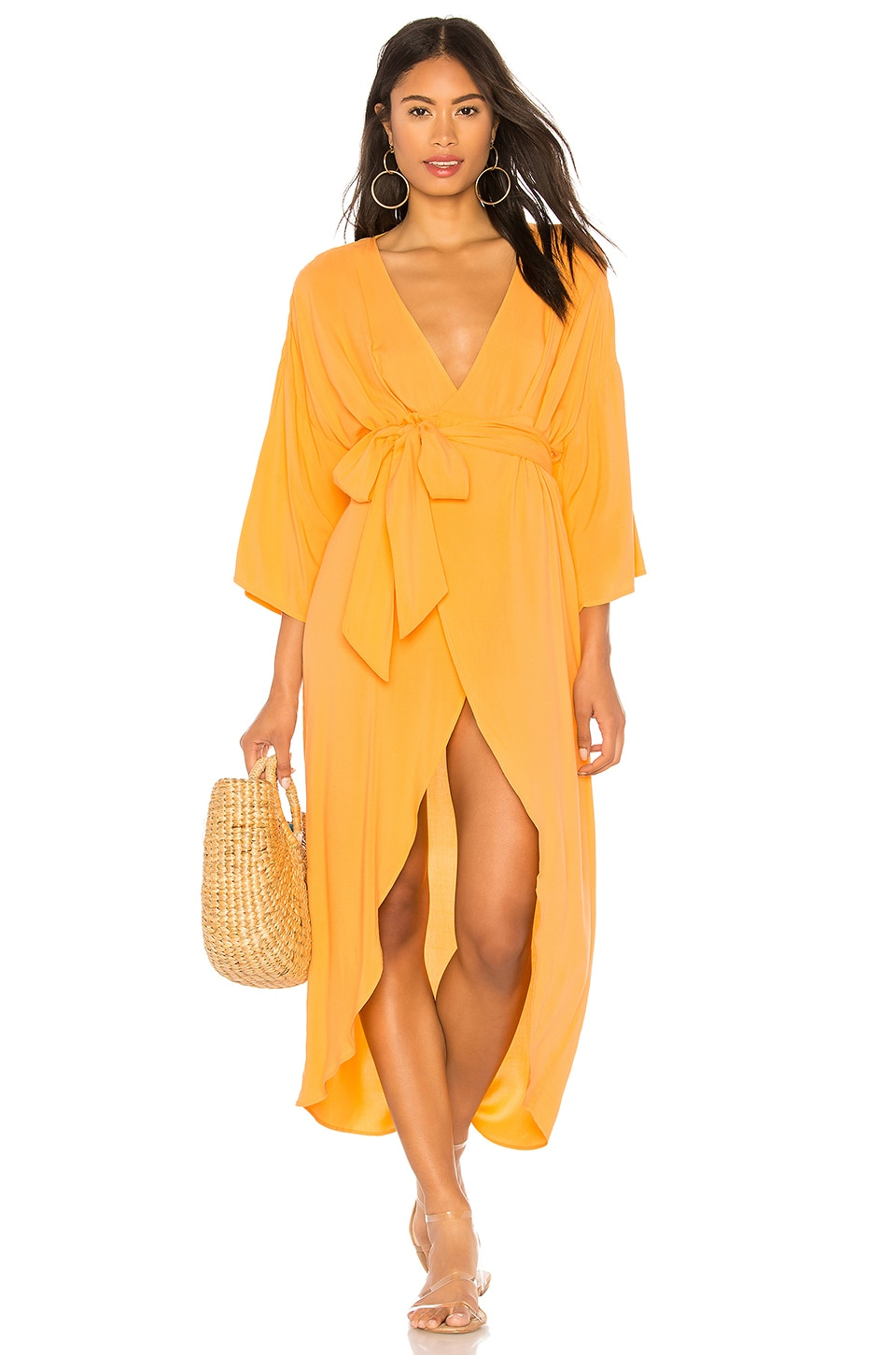 KENDALL + KYLIE Wrap Dress in Chamois