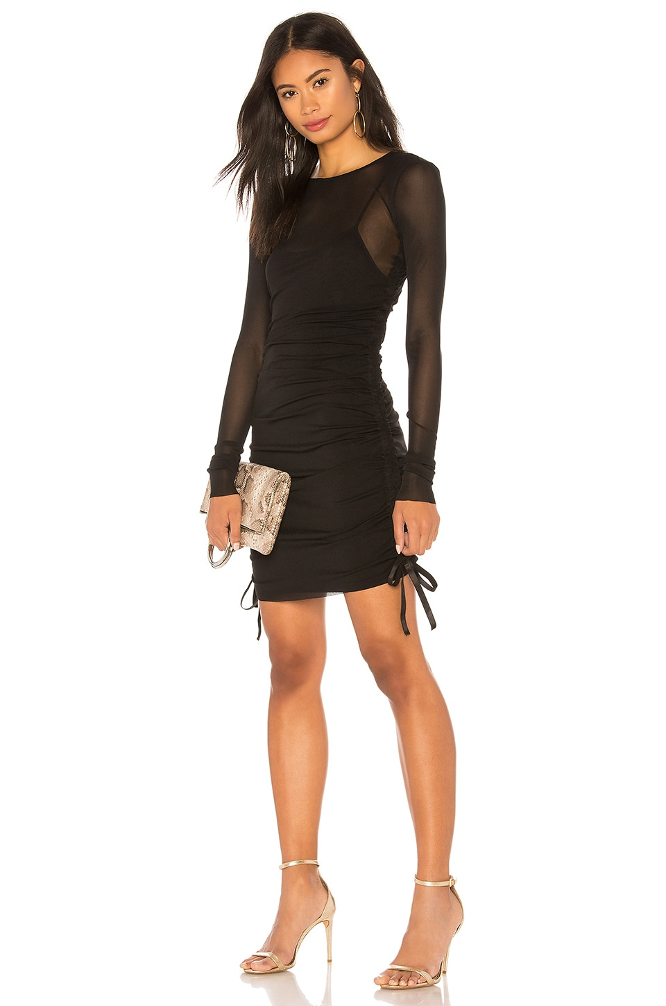KENDALL + KYLIE Mesh Cover Up Mini Dress in Black