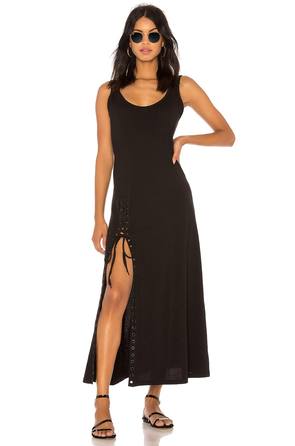 KENDALL + KYLIE Lace Up Tank Dress in Black