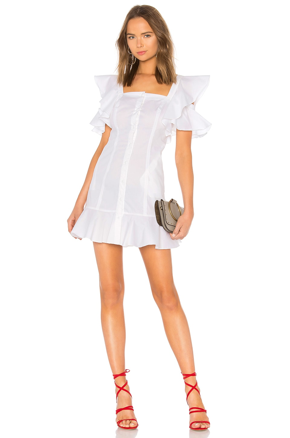 KENDALL + KYLIE Ruffle Sleeve Dress in Bright White