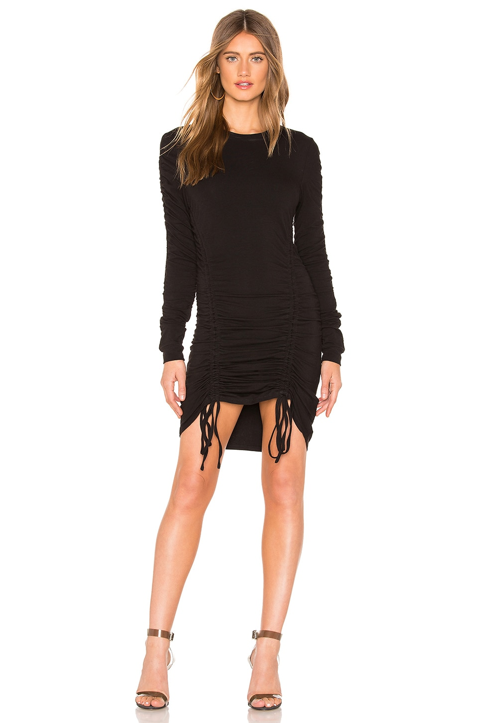KENDALL + KYLIE Crew Neck Ruched Dress in Black