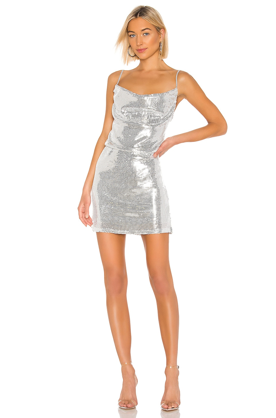 KENDALL + KYLIE X REVOLVE Cowl Apron Sequin Dress in Heather Grey Sequin