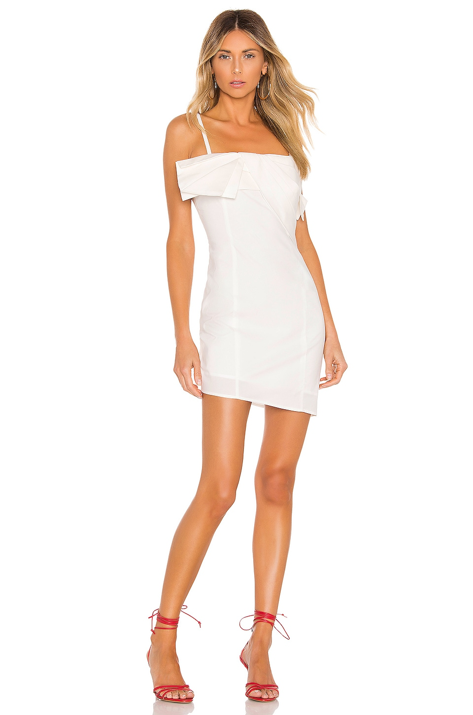 KENDALL + KYLIE Poplin Draped Dress in White