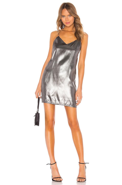 KENDALL + KYLIE X REVOLVE Liquid Shine Mini Slip Dress in Black Silver