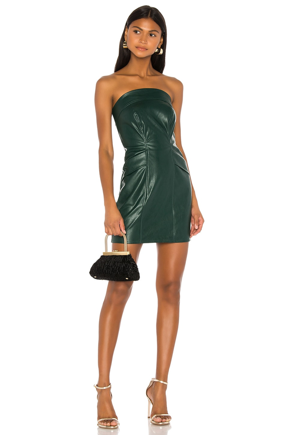 KENDALL + KYLIE Cobain Vegan Leather Dress in Emerald