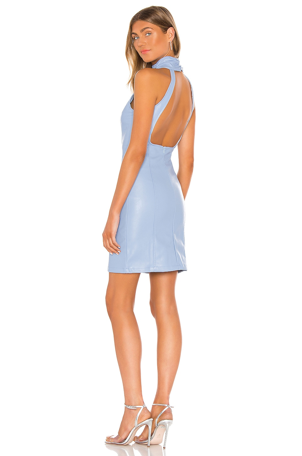 KENDALL + KYLIE Ruching Neck Backless Dress in Gaga Blue