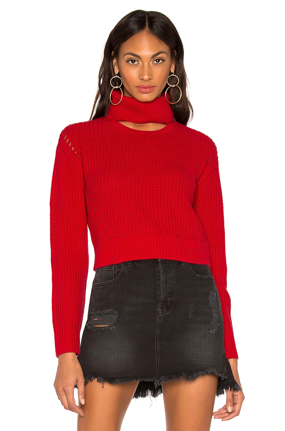 KENDALL + KYLIE Open Neck Crew Sweater in Red