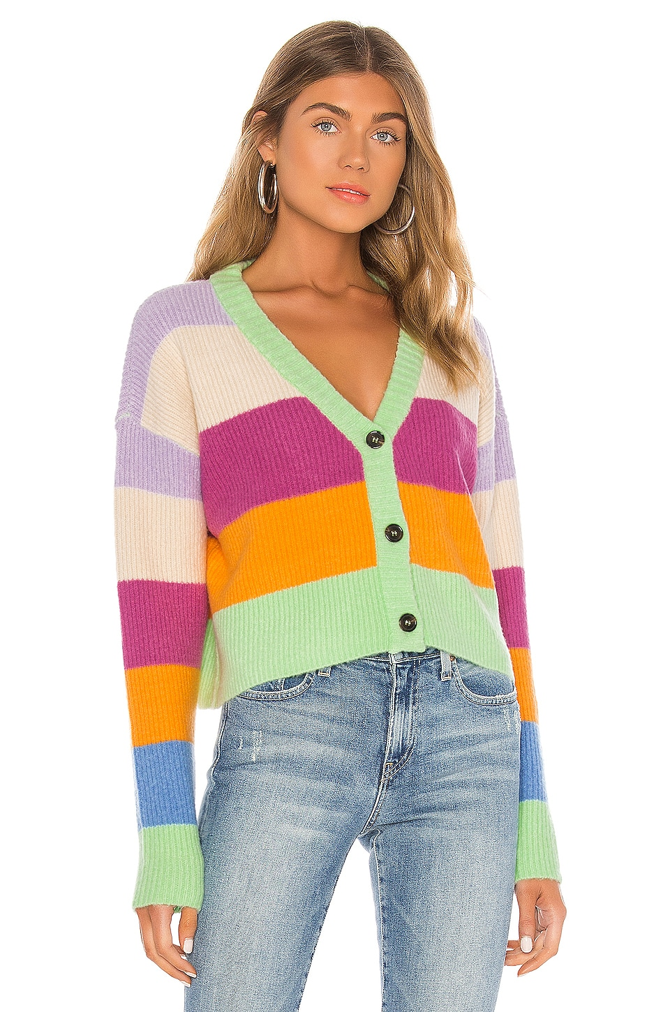 KENDALL + KYLIE Striped Cardigan in Multi