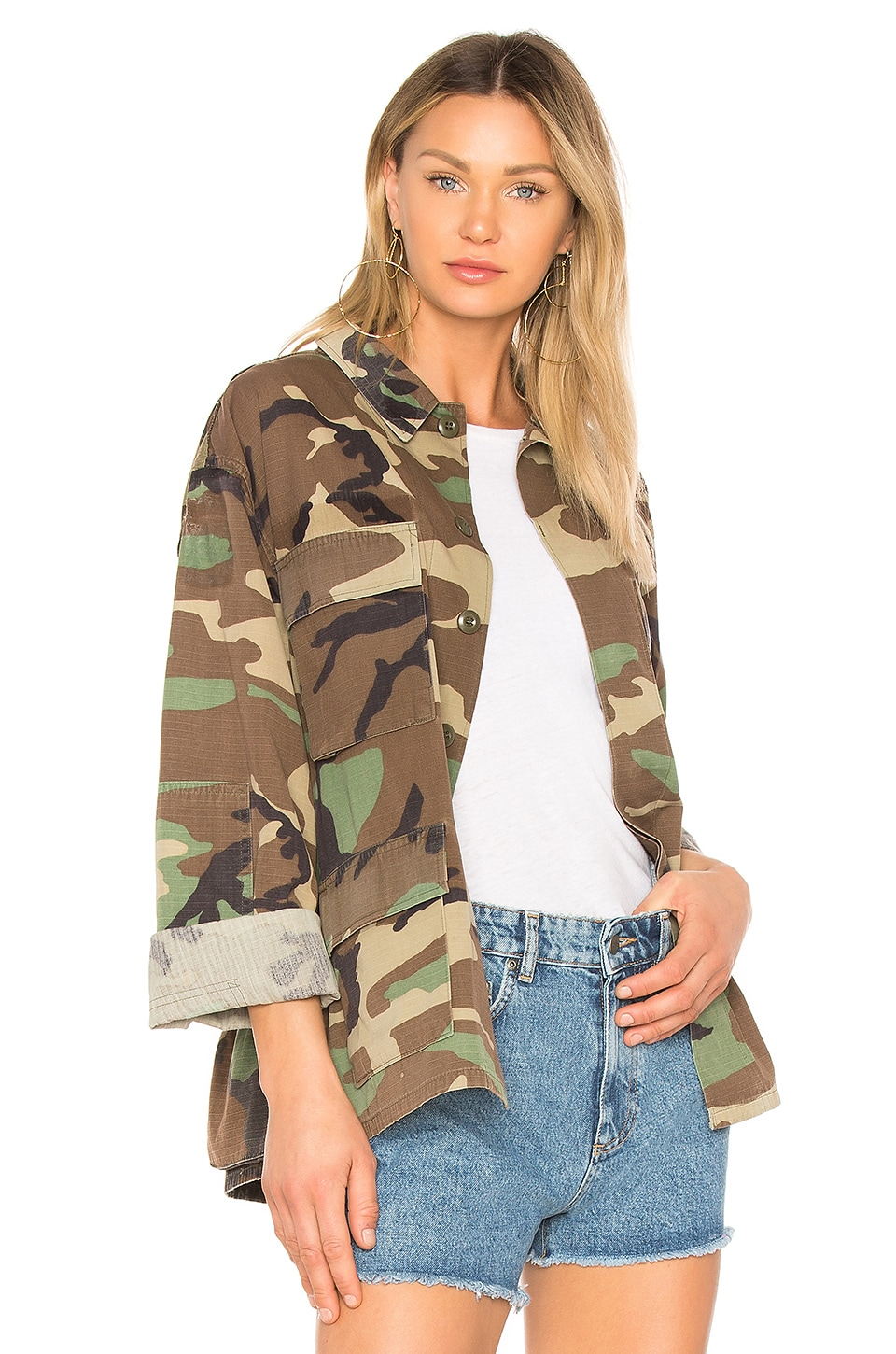 KENDALL + KYLIE Open Back Jacket in Camo Print