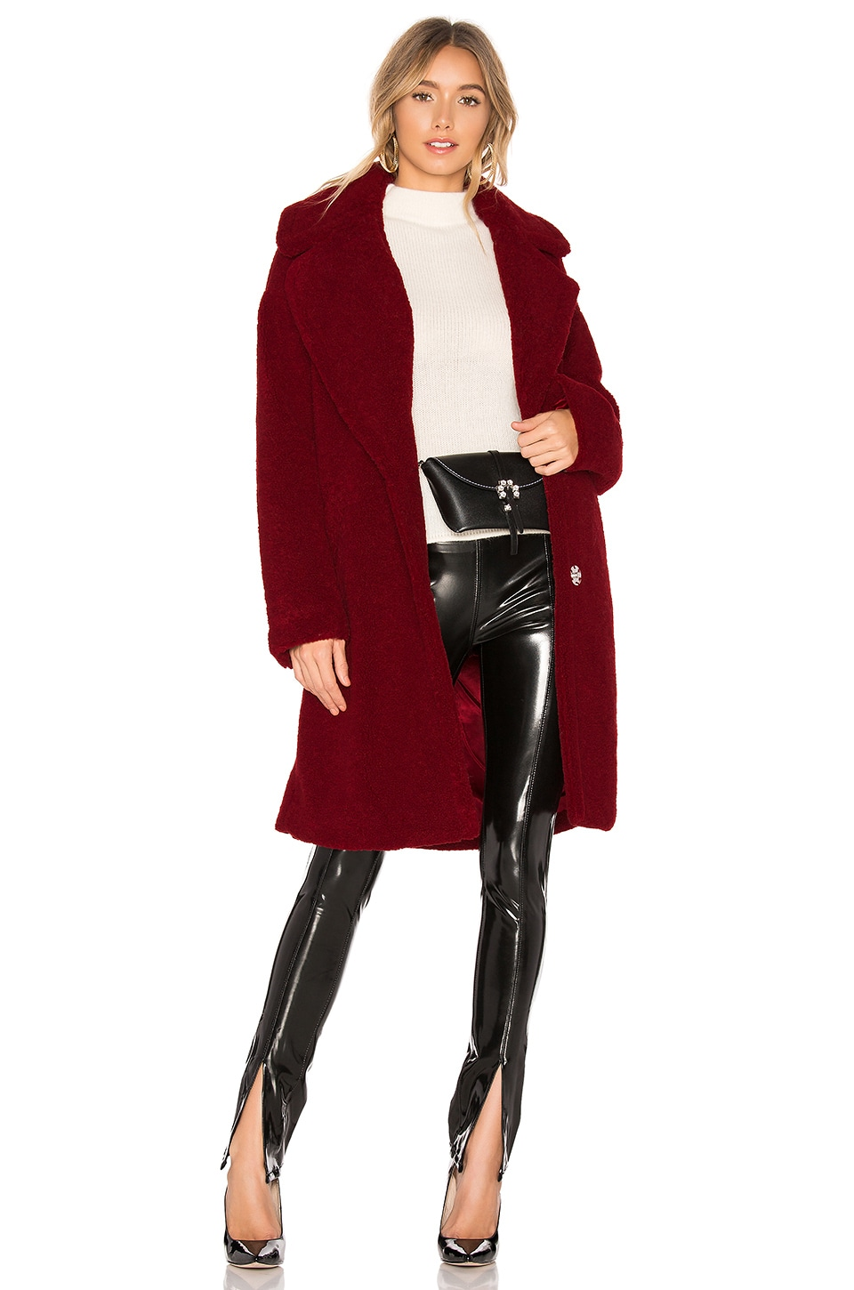 KENDALL + KYLIE Single Breasted Teddy Coat in Red