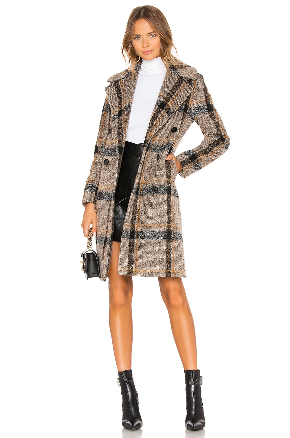 KENDALL + KYLIE Double Breasted Long Coat in Brown Plaid