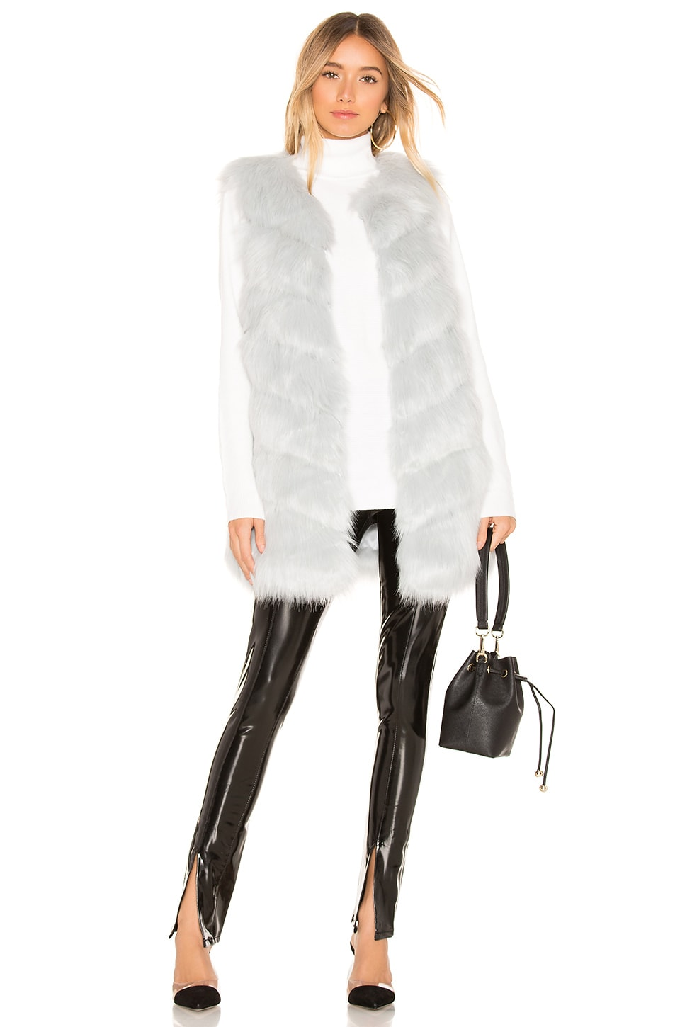 KENDALL + KYLIE Faux Fur Vest in Light Blue