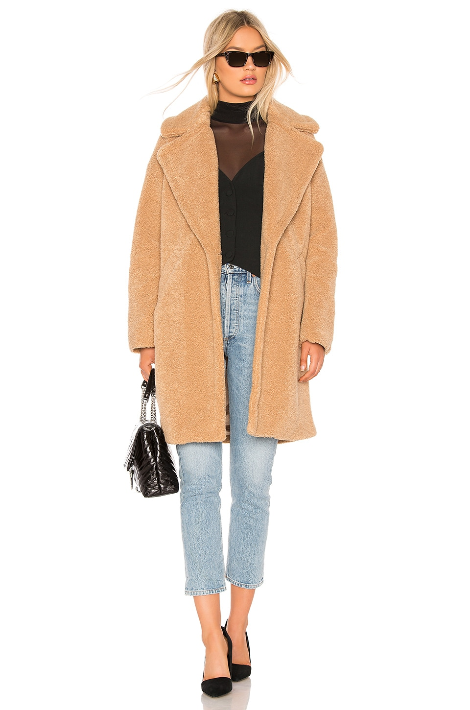 KENDALL + KYLIE Single Breasted Teddy Coat in Camel
