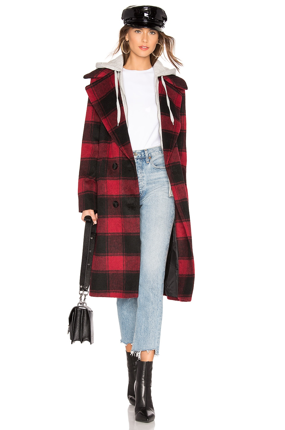 KENDALL + KYLIE Wool Layered Coat in Red Plaid