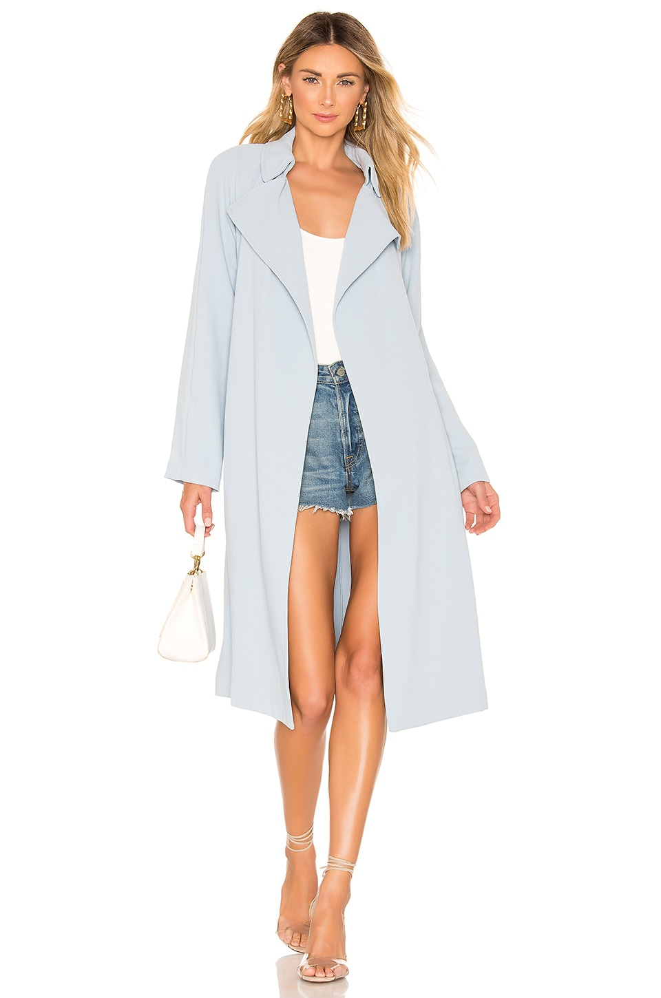 KENDALL + KYLIE Classic Trench Coat in Blue