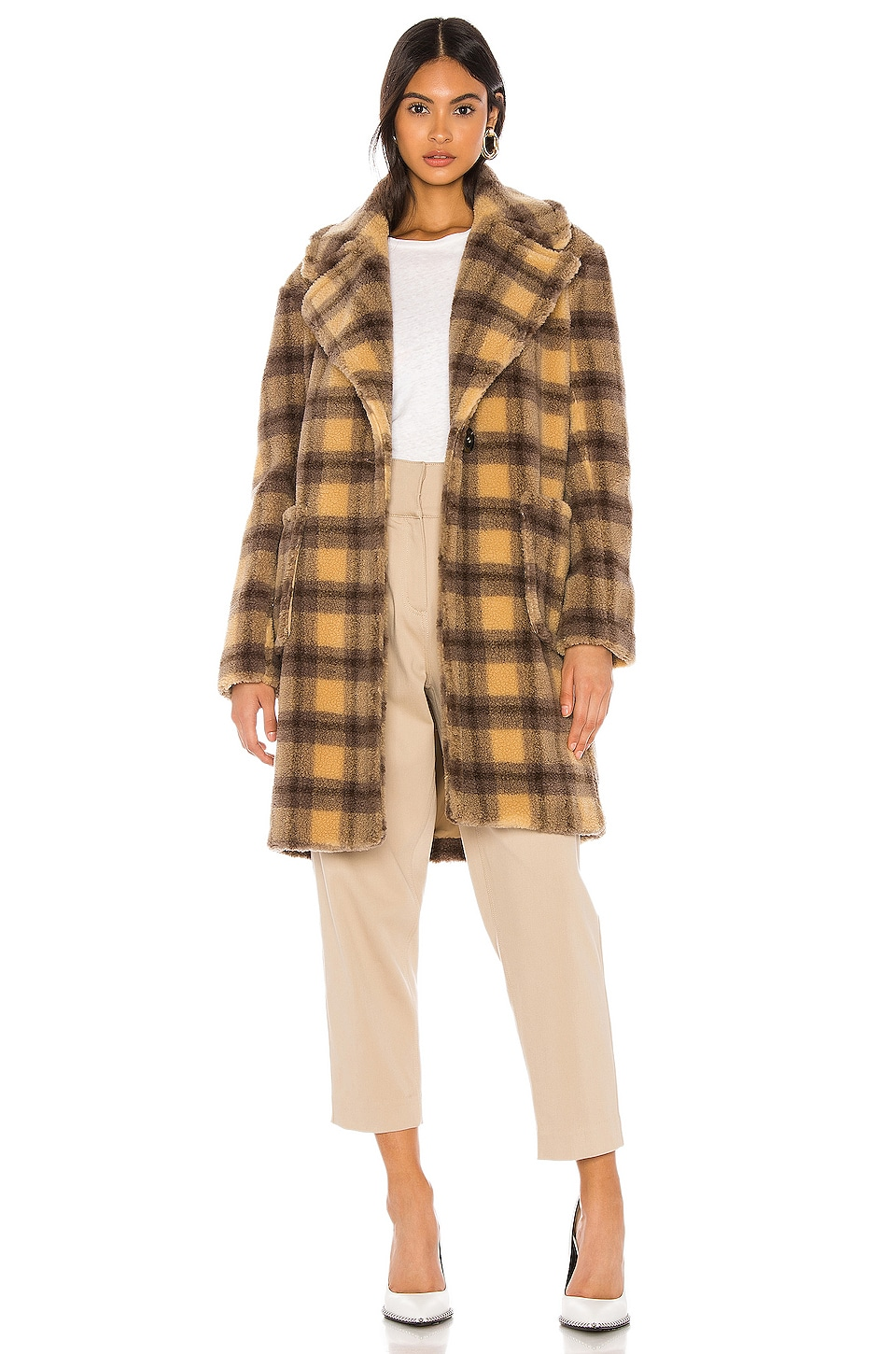KENDALL + KYLIE Teddy Plaid Coat in Camel