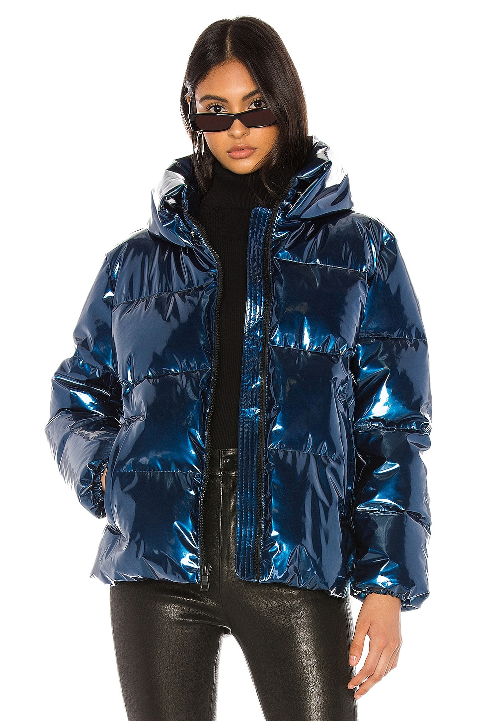 KENDALL + KYLIE Metallic Puffer Jacket in Blue