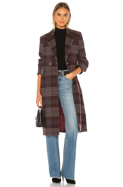 KENDALL + KYLIE Plaid Overcoat in Purple