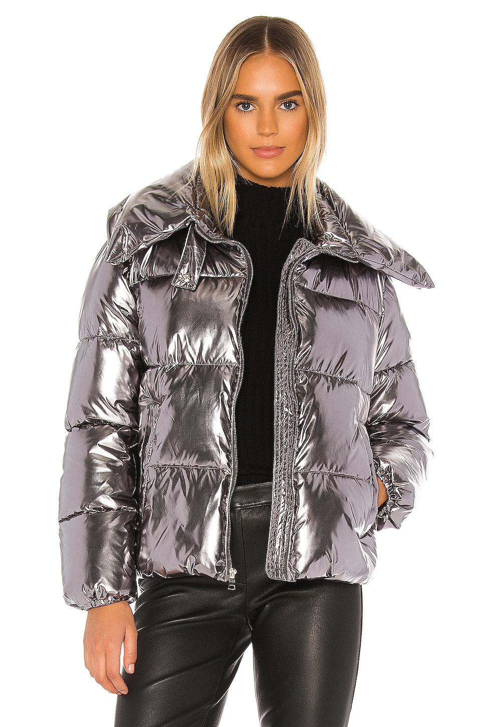 KENDALL + KYLIE Metallic Puffer Jacket in Silver
