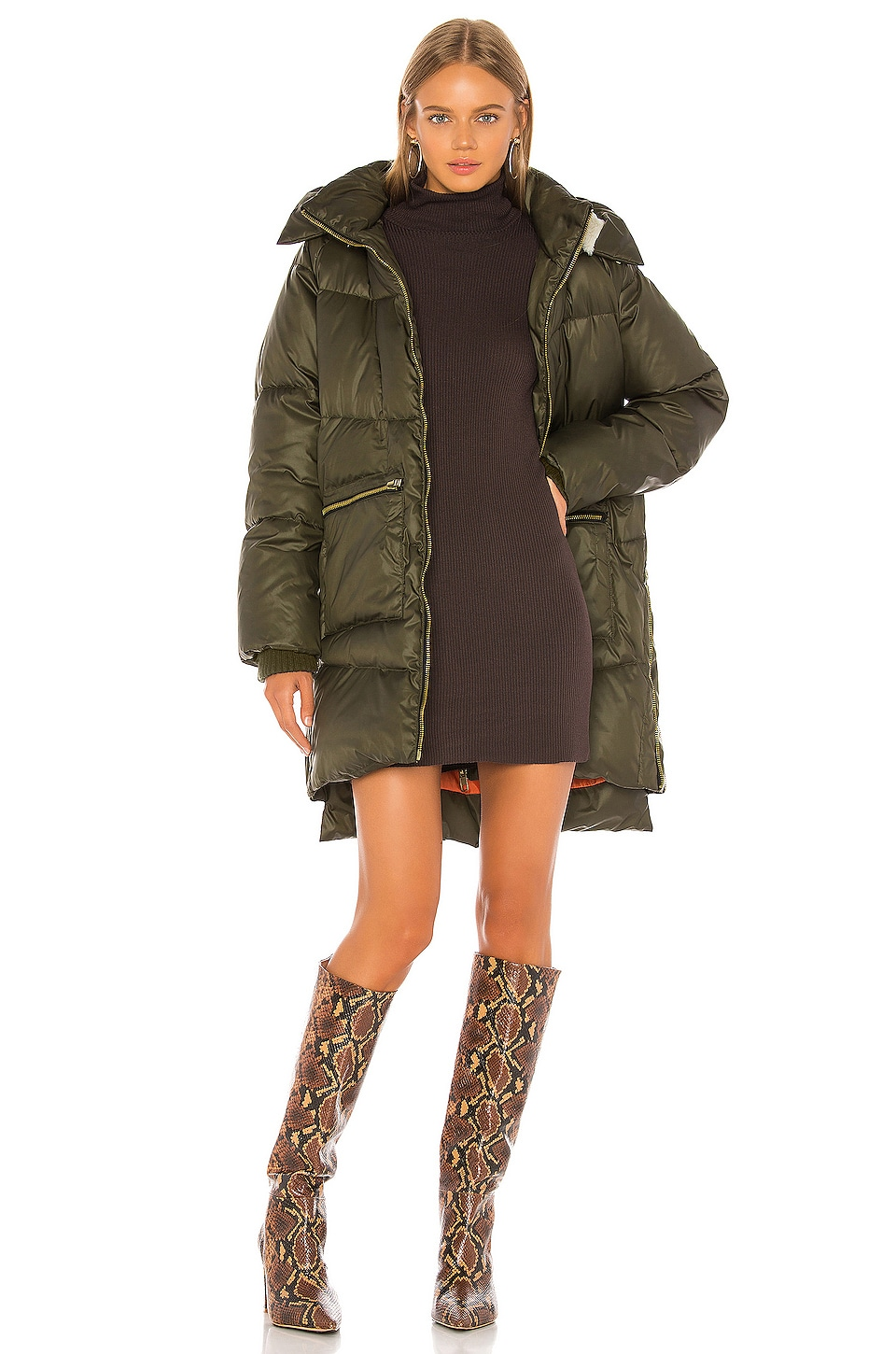 KENDALL + KYLIE Puffer Parka in Olive